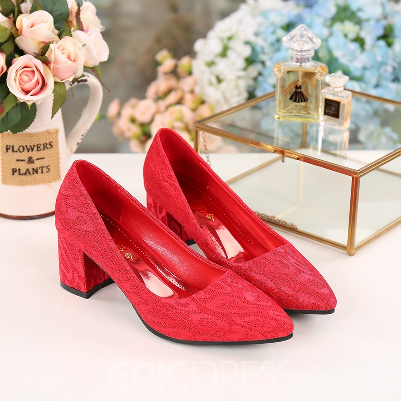 Women's Pointed Toe Thin Shoes Mid-Heel Lace Wedding Shoes