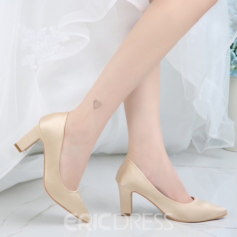 Ericdress Women's Chunky Heel Cloth Pointed Toe Thin Shoes Wedding Shoes