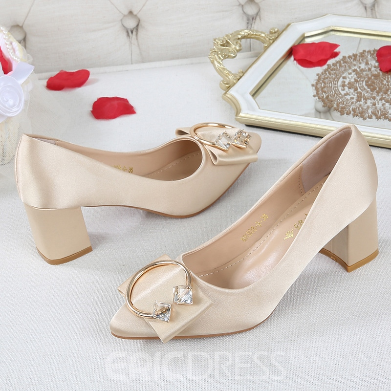 Ericdress Women's Pointed Toe Cloth Thin Shoes Buckle Wedding Shoes