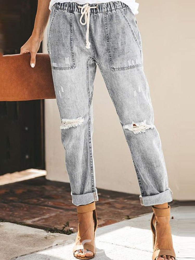 EricdressLace-Up Plain Pocket Elastics Jeans