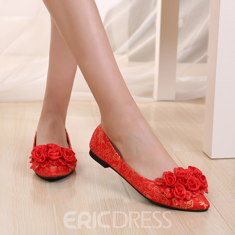 Women's Thin Shoes Low Heel Pointed Toe Embroidery Wedding Shoes