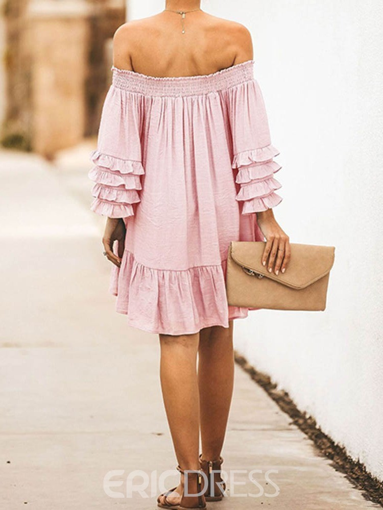 Ericdress Pleated Above Knee Off Shoulder Ruffle Sleeve A-Line Dress