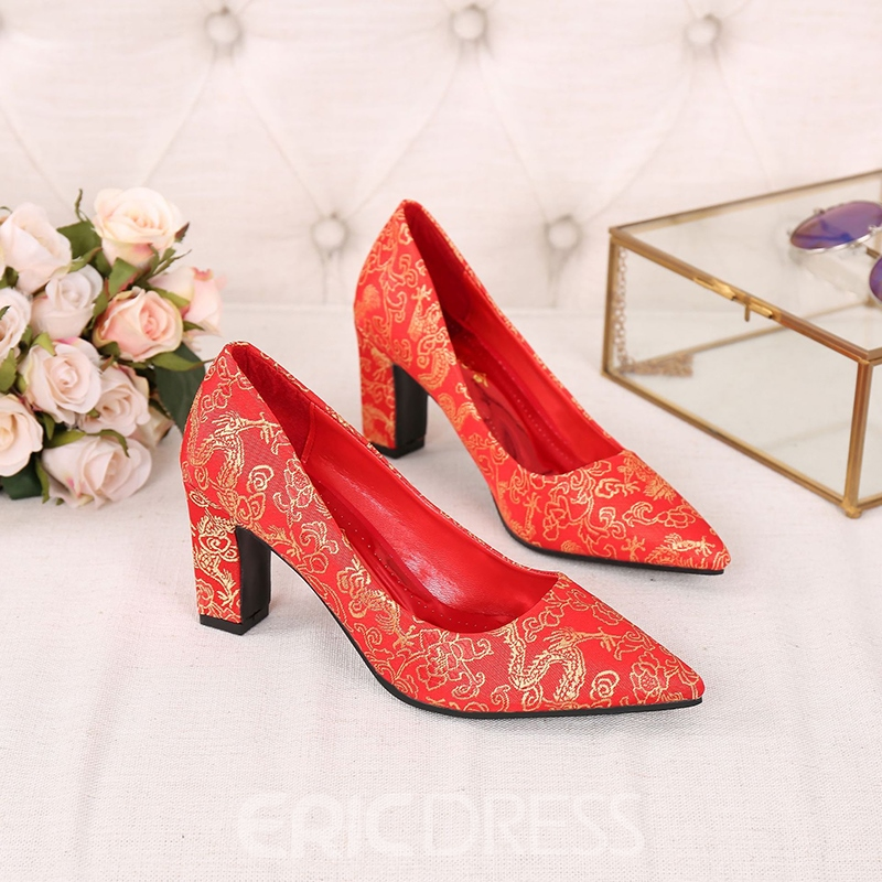 Women's PU High Heel Embroidery Chunky Heel Wedding Shoes