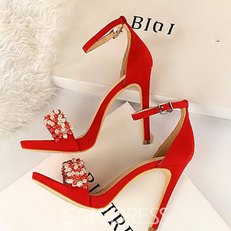 Ericdress Beads Faux Suede Heel Covering Stiletto Heel Women's Sandals