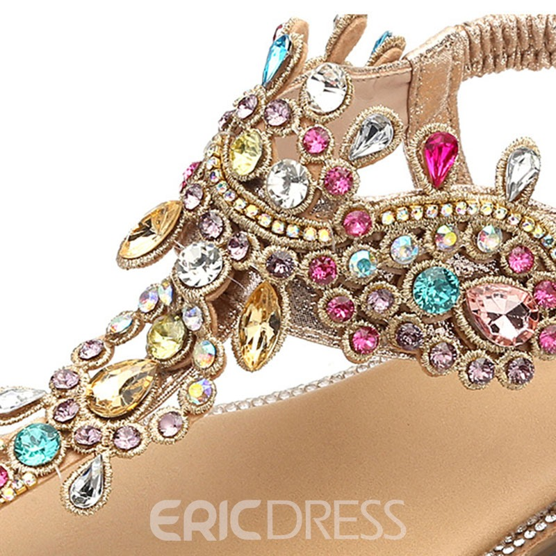 Ericdress Rhinestone Thong Elastic Band Women's Flat Sandals