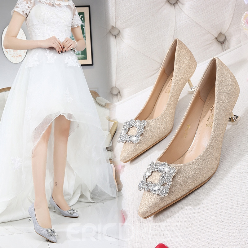 Women's Rhinestone Stiletto Heel Pointed Toe Mid-Heel Wedding Shoes