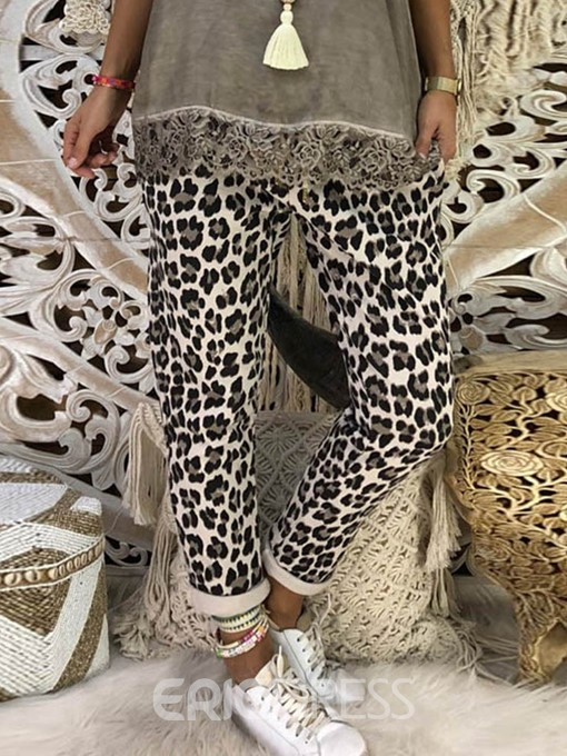 Ericdress Slim Print Leopard Ankle Length Casual Pants