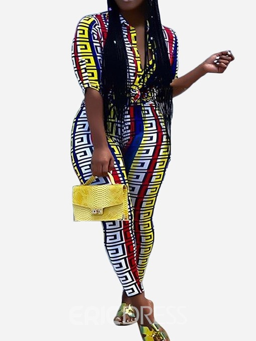 Ericdress Color Block Print Skinny Sexy Jumpsuit