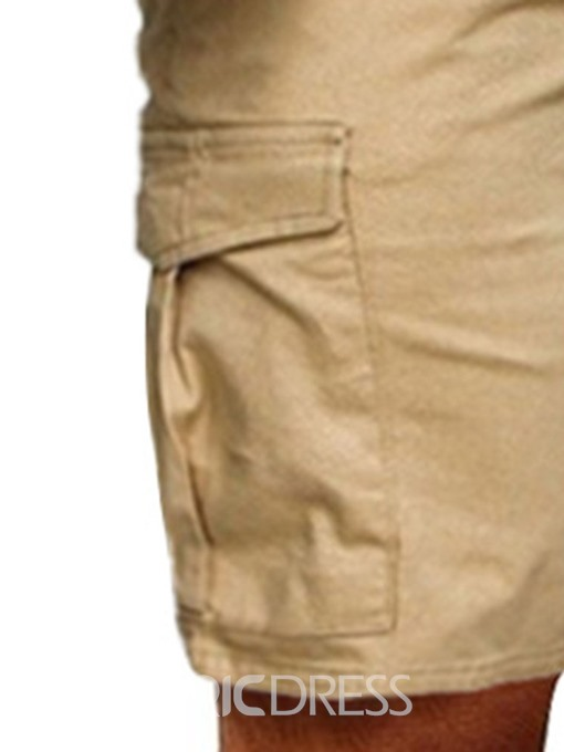 Ericdress Loose Plain Pleated Casual Mid Waist Mens Shorts