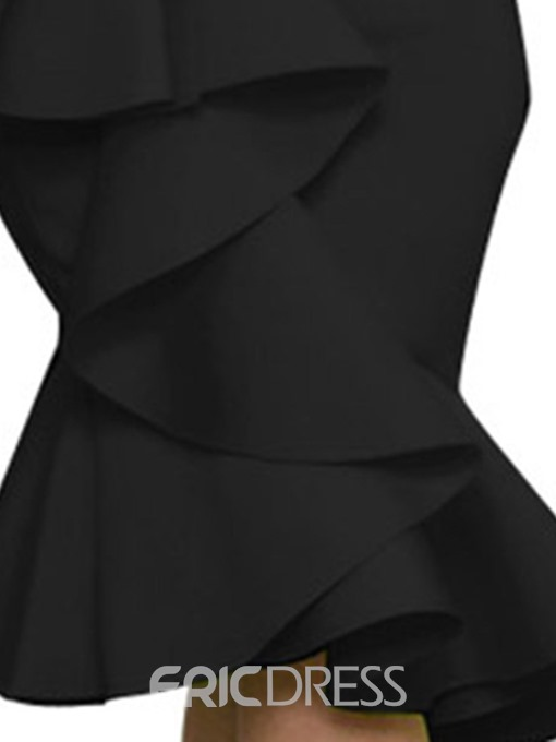 Ericdress Mid-Calf Off Shoulder Asymmetric Plain Bodycon Dress
