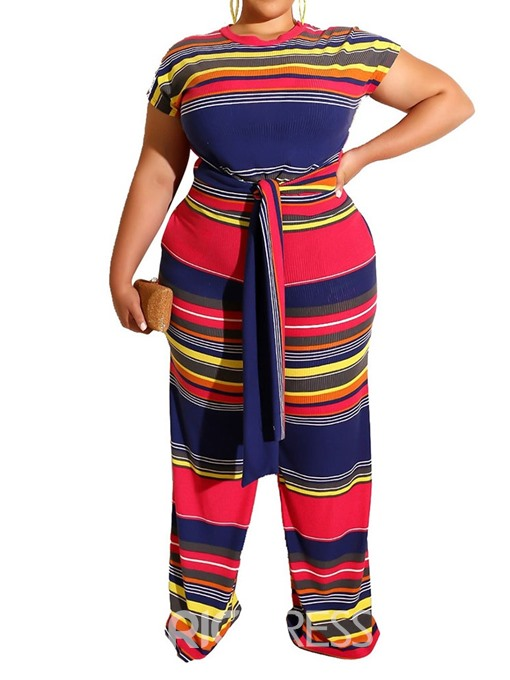 Ericdress Plus Size Stripe Lace-Up Color Block T-Shirt And Pants Two Piece Sets