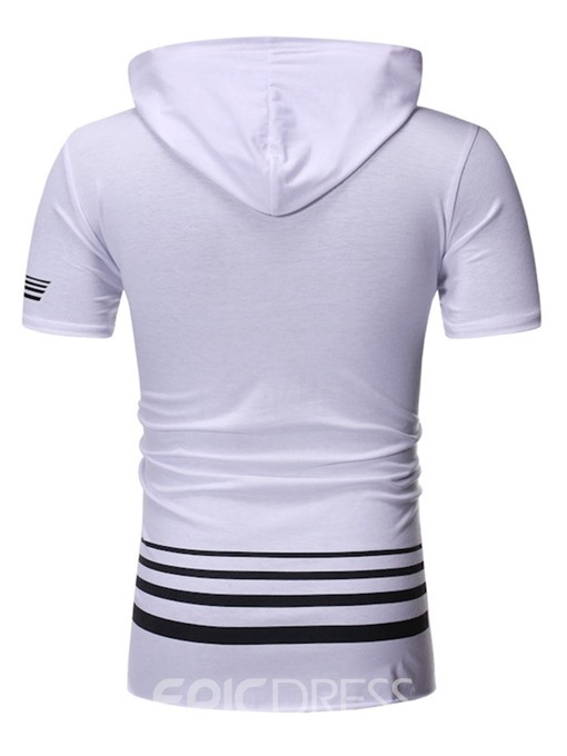 Ericdress Hooded Stripe Casual Mens Slim T-shirt