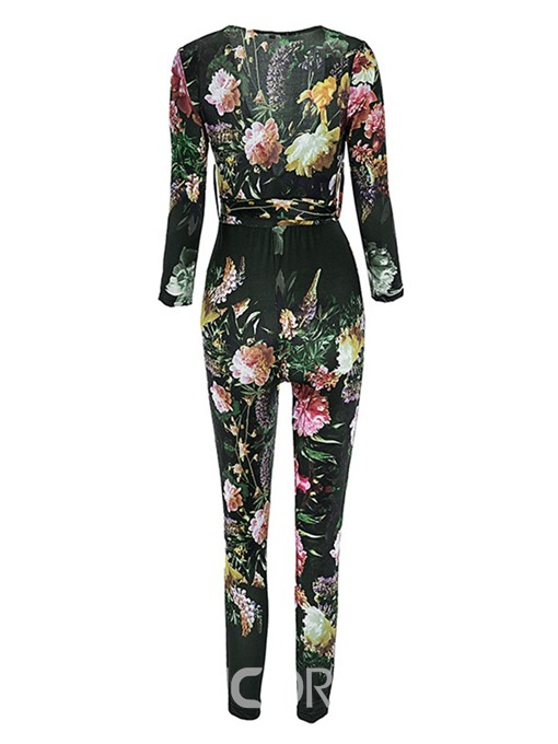 Ericdress Floral Print African Style Belt Skinny Jumpsuit
