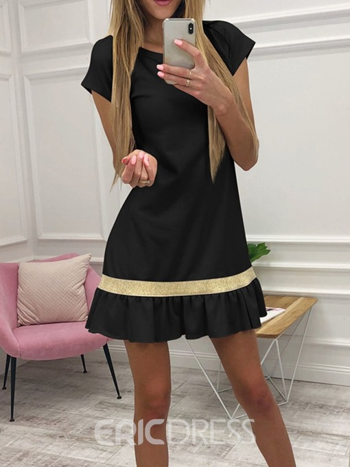 Ericdress Above Knee Pleated Short Sleeve A-Line Pullover Dress