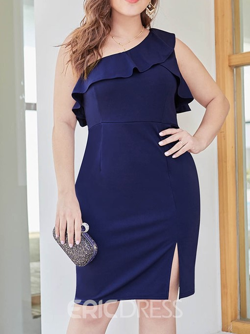 Ericdress Knee-Length Sleeveless Split Plain Plus Size Dress