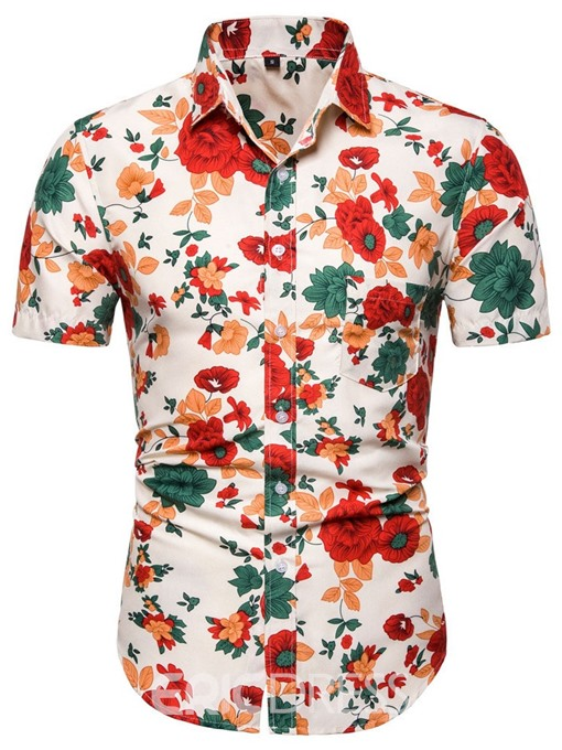Ericdress Casual Print Floral Mens Single-Breasted Shirt