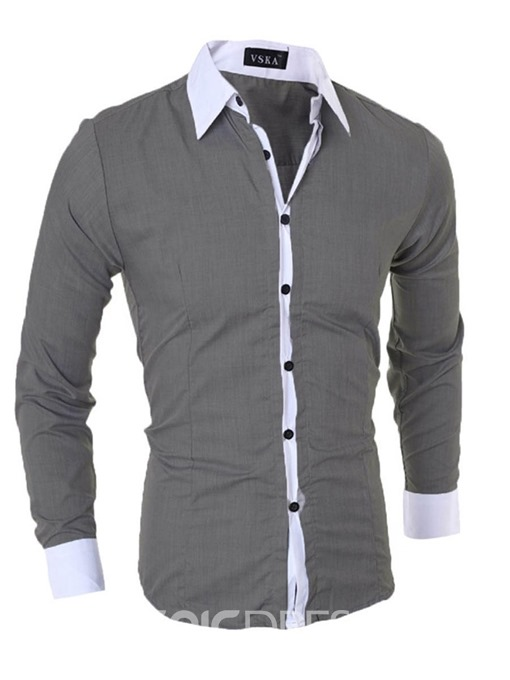 Ericdress Patchwork Single-Breasted Men's Shirt