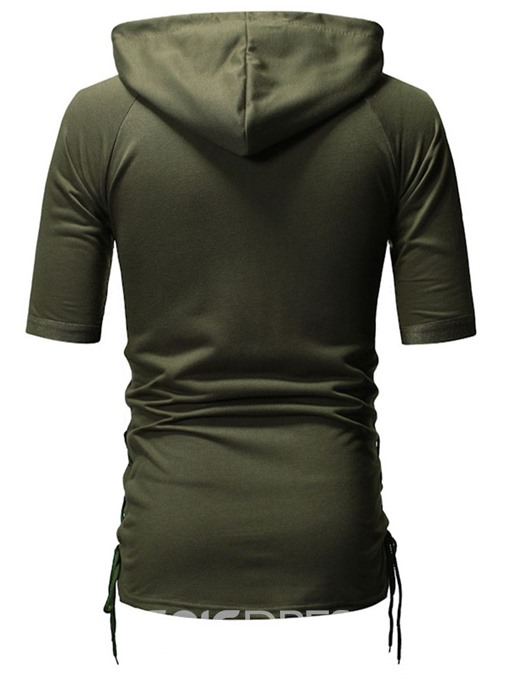Ericdress Zipper Hooded Plain Mens Slim T-shirt