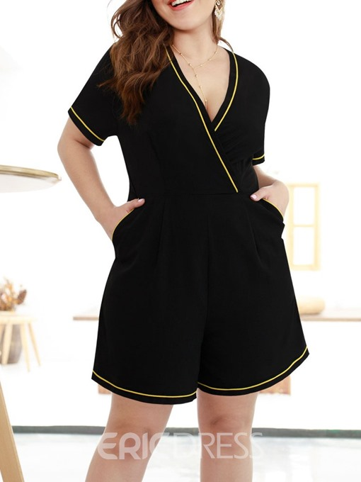 Ericdress Plus Size Color Block Office Lady Loose Romper