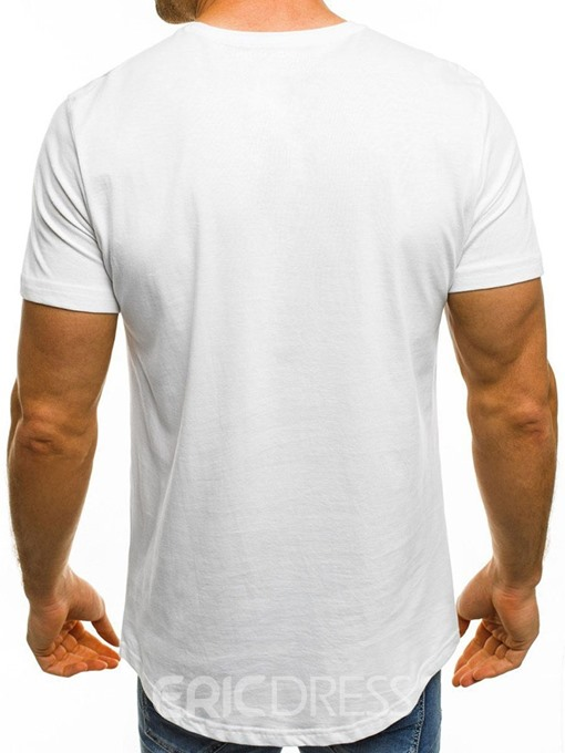 Ericdress Letter Print Round Neck Loose Mens T-shirt