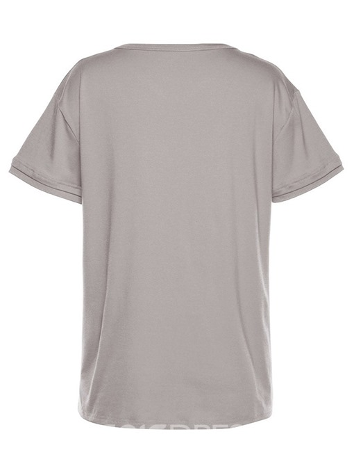 Ericdress V-Neck Short Sleeve Standard Casual T-Shirt