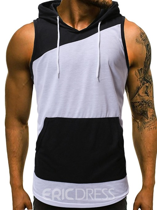 Ericdress Pocket Hooded Slim Mens Casual Vest