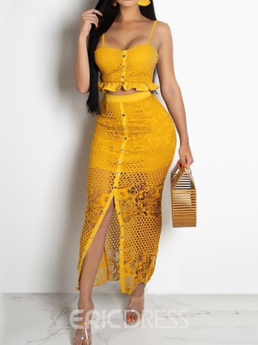 Ericdress Lace Strap Plain Bodycon Vest And Skirt Two Piece Sets