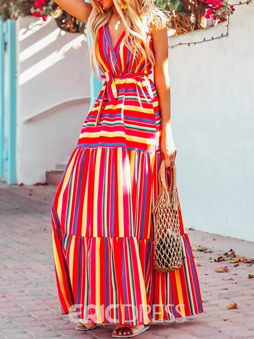 Ericdress Pleated Sleeveless Floor-Length High Waist Stripe Dress