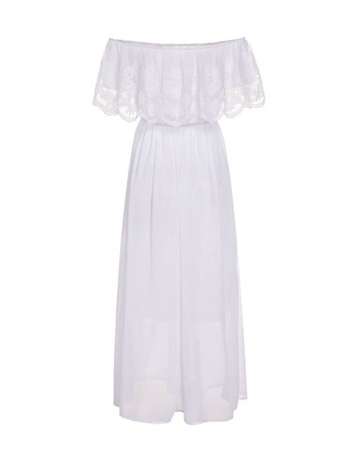 Ericdress Three-Quarter Sleeve Off Shoulder Pleated Pleated A-Line Dress