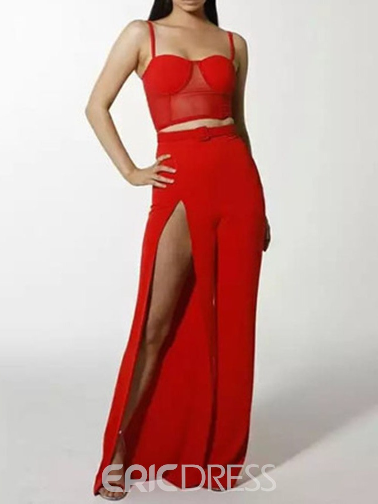 aedbdb8b150 ... Ericdress Sexy Plain Strap Split Vest And Pants Two Piece Sets ...