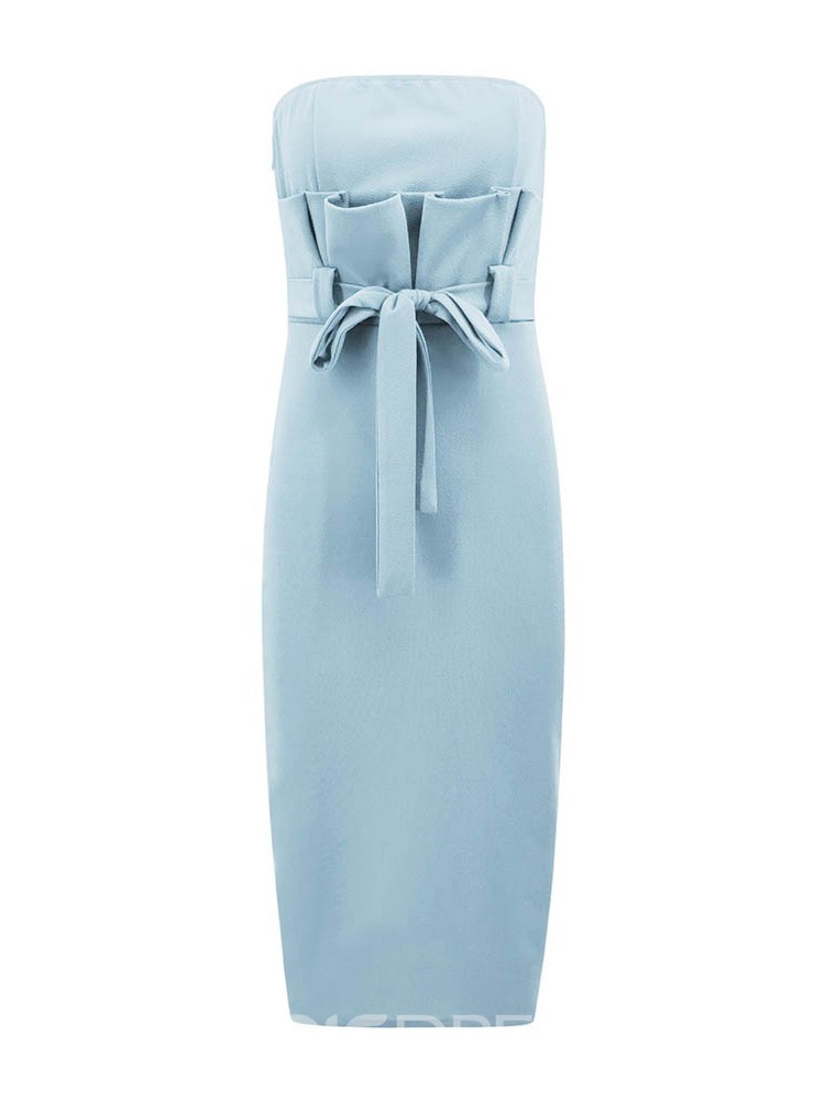 Ericdress Mid-Calf Sleeveless Bowknot Strapless Plain Dress