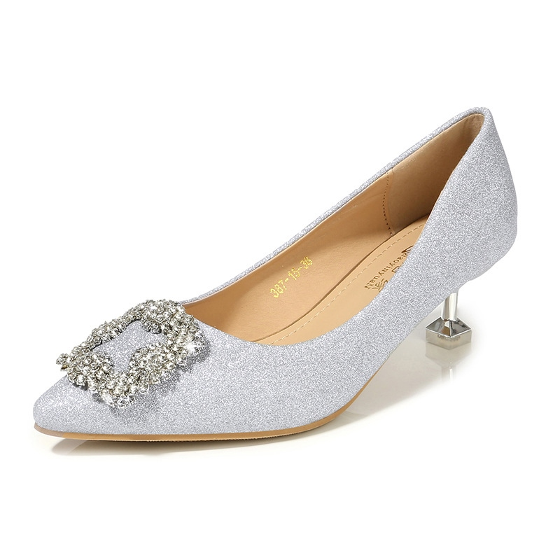 Women's PU Rhinestone Stiletto Heel Thin Shoes Wedding Shoes