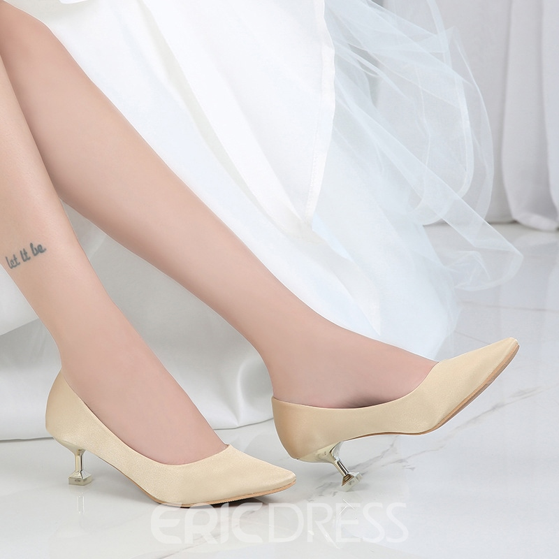 Women's Cloth Thin Shoes Mid-Heel Stiletto Heel Wedding Shoes