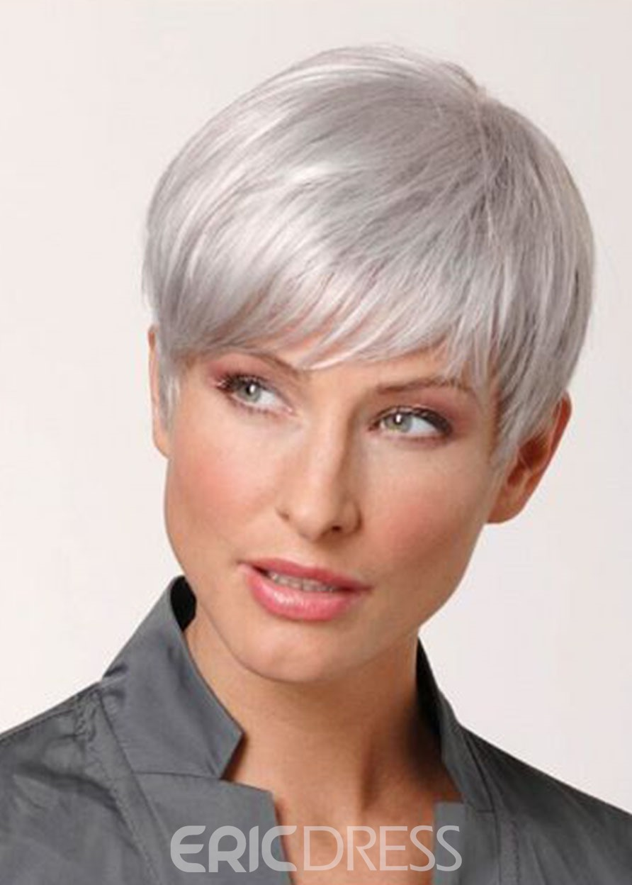 Ericdress White Color Synthetic Hair Wigs Lace Front Natural Looking Straight Wigs 10inch