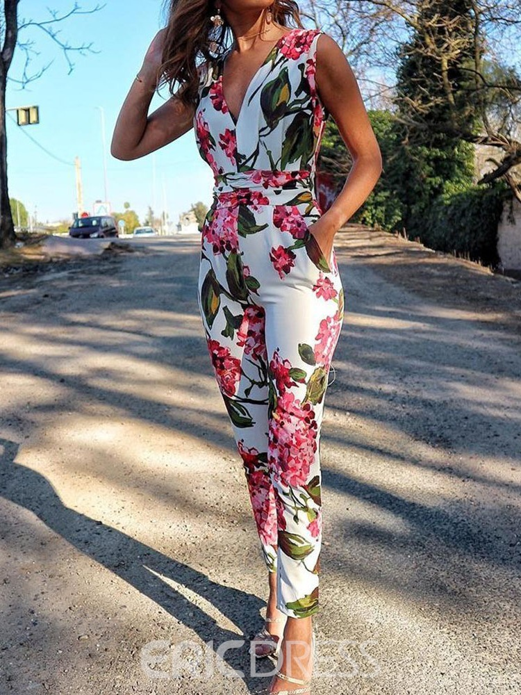 Ericdress Print Floral Office Lady Slim Jumpsuit