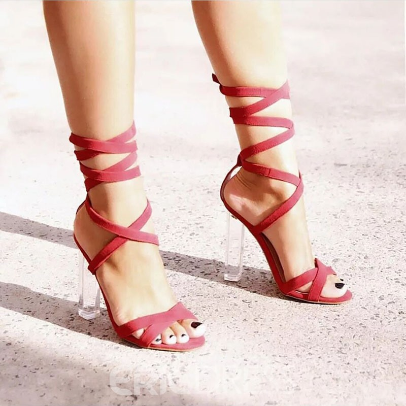 Ericdress Faux Suede Cross Strap Chunky Heel Women's Chic Sandals