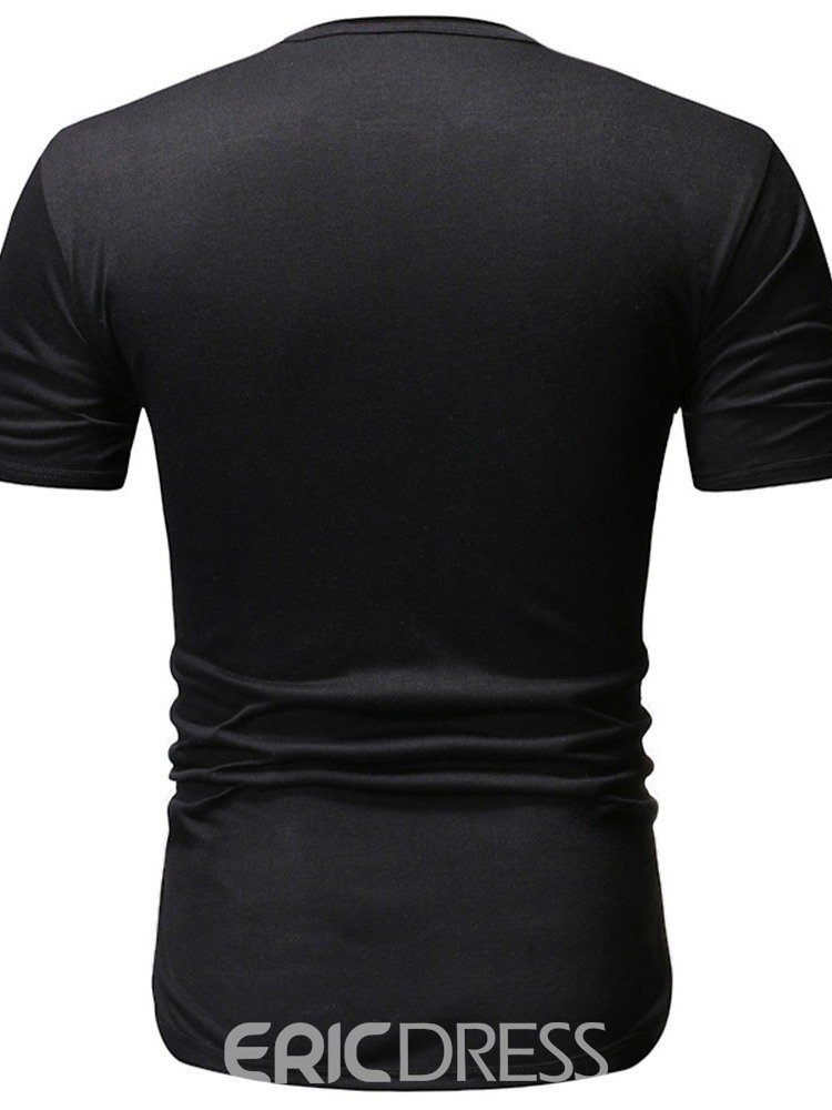 Ericdress Round Neck Casual Button Mens Slim T-shirt