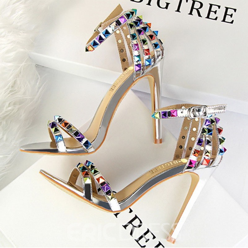 Ericdress Rivet PU Heel Covering Buckle Stiletto Heel Women's Sandals