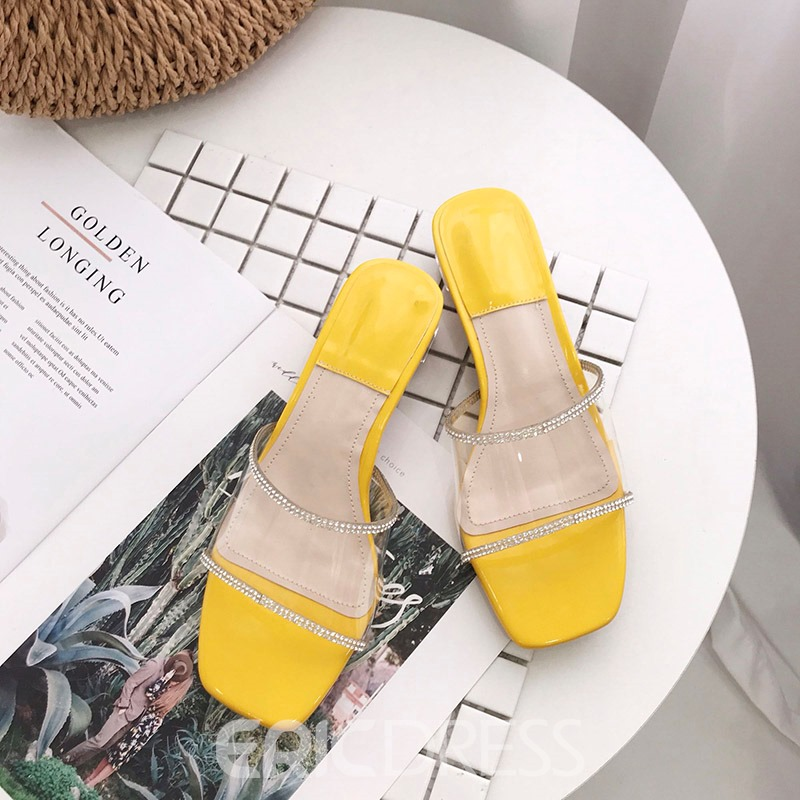 Ericdress PVC Rhinestone Slip-On Chunky Heel Women's Sandals