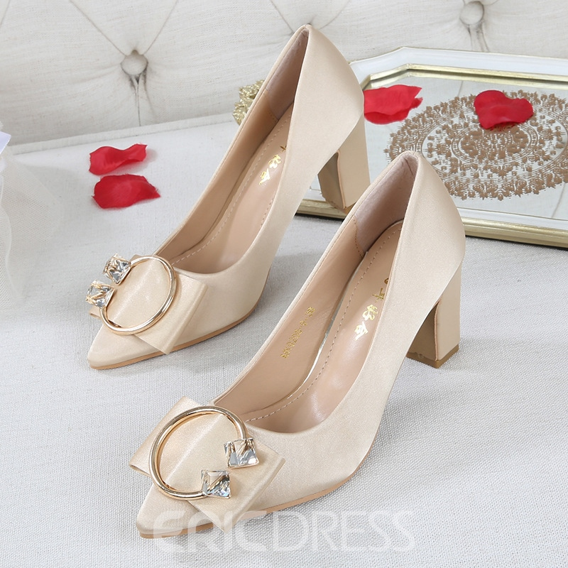 Women's Chunky Heel Cloth High Heel Thin Wedding Shoes