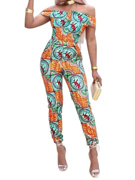 Ericdress Print African Style Color Block High Waist Jumpsuit