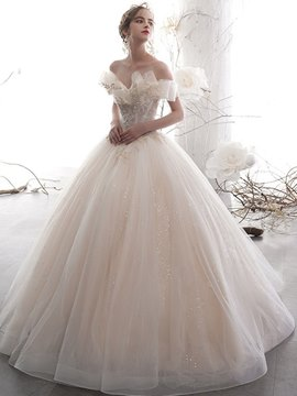 Ericdress Ball Gown Off-The-Shoulder Appliques Church Wedding Dress 2020