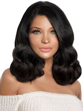 Ericdress Women's Medium Length Wavy Synthetic Hair Wigs 150% Density Lace Front Cap Wigs 16 Inches