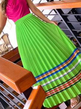 ericdress hasta los tobillos plisado bloque de color falda occidental