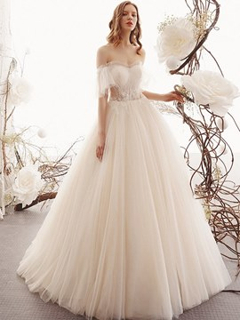 Ericdress Half Sleeves Beading Ball Gown Wedding Dress 2020