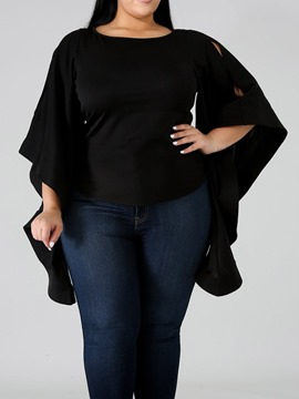 Ericdress Plain Flare Sleeve Round Neck Plus Size Blouse