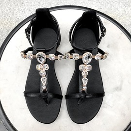 Ericdress PU Rhinestone Thong Block Heel Women's Flat Sandals