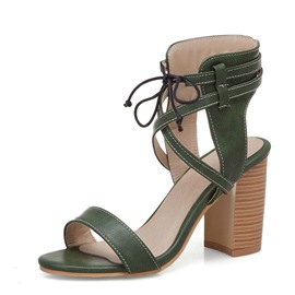Ericdress PU Open Toe Lace-Up Chunky Heel Women's Sandals