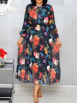 Ericdress Floral Print A-Line Sweet Floral OL Dress(Without Waistband)