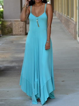 Ericdress Floor-Length Sleeveless Asymmetric Mid Waist Plain Dress